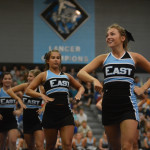 Senior Kalin Lamus performs cheer routine at the pep assembly. Photo by Carson Holtgraves