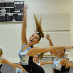 Senior Varsity Lancer Dancer Gretchen Crum performs Team Dance a routine that Varsity learned at NDA camp in Emporia, Kansas over the summer. Photo by Katherine Odell