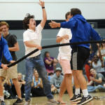 Senior and soccer varsity player, Will Krebs celebrates soccer's tug of war win against football. Photo by Sophie Storbeck