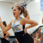 Senior varsity drill team member, Gretchen Crum performs with her team. Photo by Sophie Storbeck