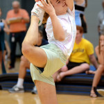 Senior Sean Overton shows off his flexibility in order to win the dance contest. Photo by Ellie Thoma