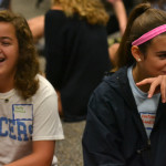 Freshmen Riley Moreland and Gretchen Raedle, enjoy their STUCO retreat as they play a getting-to-know-you game. Photo by Morgan Plunkett