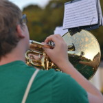 The trumpet player, participates with his fellow band member during zero hours. Photo by Morgan Plunkett