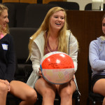 Sophomores Olivia Caponecchi, and Liddy Stallard laugh with sophomore Hannah Phillips while playing a game that asks the students funny questions. Photo by Grace Goldman