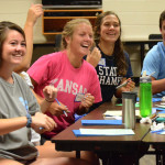 Juniors Katie Hise, Claire Long, Julia Stopperan, and Charlie Moreland laugh their way through the stuco riff off. Photo by Grace Goldman