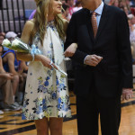 Senior Haley Bell talks with her dad before being crowned 2nd attendant sweetheart queen. Photo by Carson Holtgraves