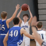 Freshman Luke Hanson tries to look for a teammate not being guarded. Photo by CJ Manne